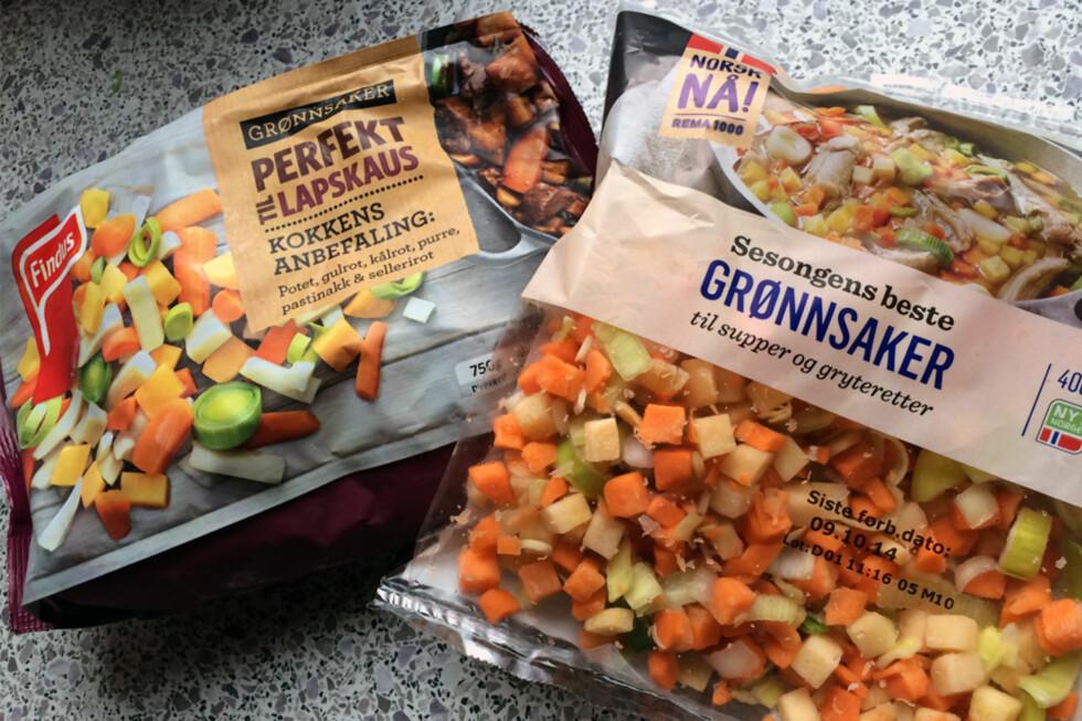 GRØNNSAKER: Om man vil slippe å kutte opp grønnsaker selv, hva bør man velge? Vi har sammenlignet frosne mot ferske, oppkuttede grønnsaker. Foto: BERIT B. NJARGA