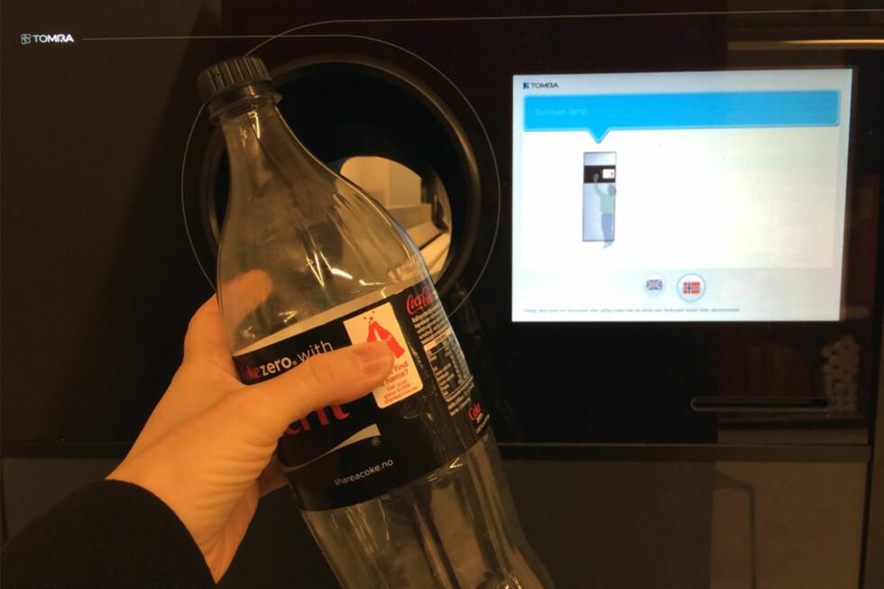 RASKERE: Med de nye panteautomatene skal det gå 30-50 prosent raskere å pante flasker. Foto: BERIT B. NJARGA