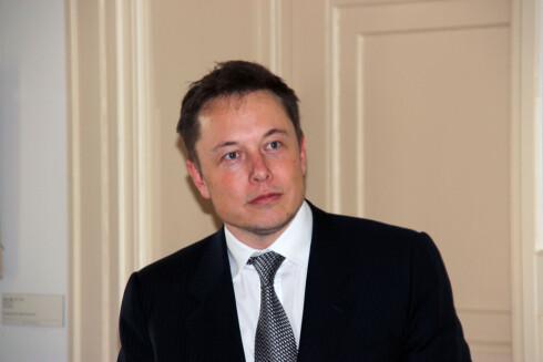 GJORDE JOBBEN: Elon Musk tok seg selv av lanseringsjobben.  Foto: KNUT MOBERG