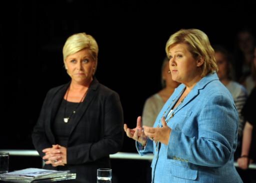 Regjeringen, her representert ved finansminister Siv Jensen og statsminister Erna Solberg, vil utrede en en ny ordning for de med store sykdomsutgifter. Foto: ALL OVER PRESS