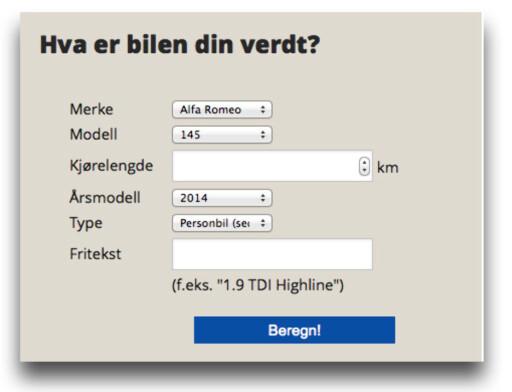 """POPULÆR: Dinsides kalkulator """"Hva er bilen din verdt"""" er et populært og nyttig verktøy.  Foto: Dinside.no"""