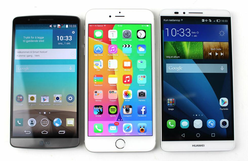 FORFRA: Slik ser LG G3, iPhone 6 Plus og Huawei Ascend Mate 7 ut på fremsiden. Det er tydelige forskjeller i hvor tykke rammer telefonene har. Foto: KIRSTI ØSTVANG