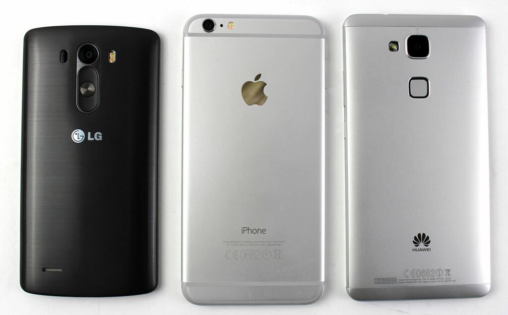 BAKFRA: Her kan vi se hvorfor LG G3 er relativt liten: knappene tar bare opp plass på baksiden. Foto: KIRSTI ØSTVANG