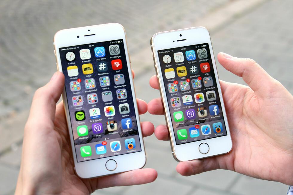 <strong><b>NYE VANER:</strong></b> En overgang fra iPhone 5S til iPhone 6 vil kunne føre til at du må finne nye måter å holde telefonen på, i hvert fall om du ikke har spesielt store hender. Foto: TERJE KLEVEN