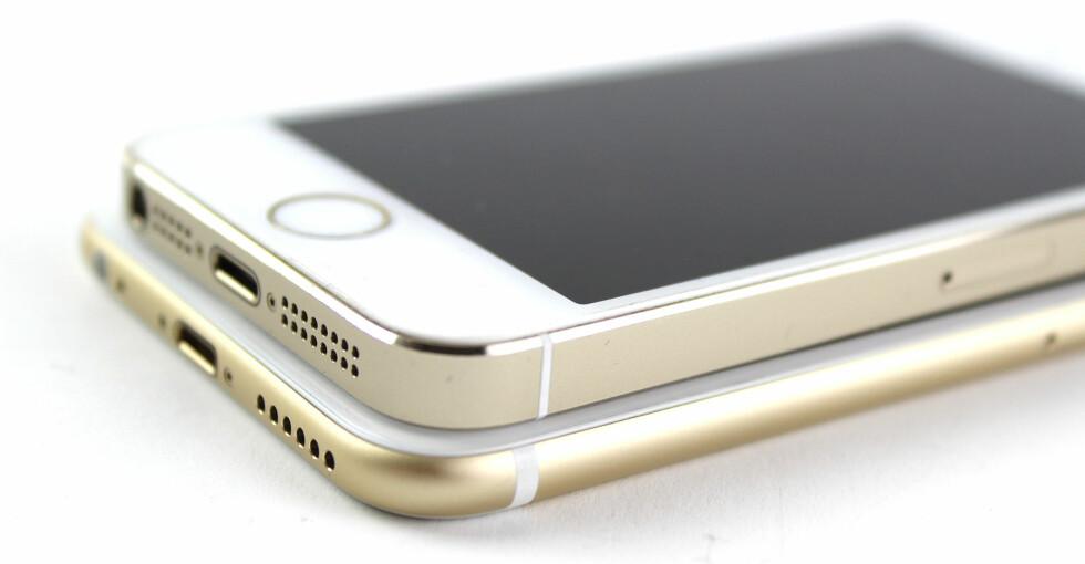 TYDELIGE FORSKJELLER: iPhone 6 både ser og føles annerledes ut enn forgjengeren, for det meste til det bedre. Foto: KIRSTI ØSTVANG