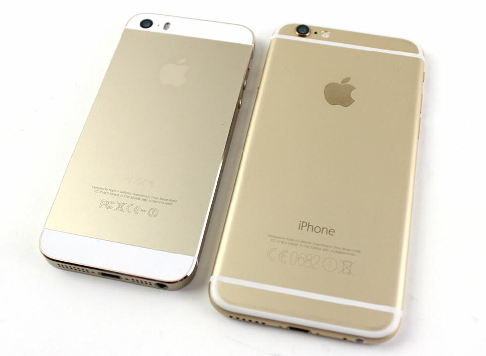 <strong><b>OMDISKUTERTE STRIPER:</strong></b> iPhone 6 har en ny antennedesign som har vakt oppsikt. Mest fordi de ikke er helt typisk Apple. Foto: KIRSTI ØSTVANG