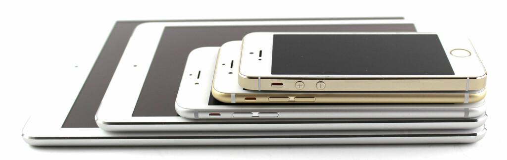 HELE FAMILIEN: iPad Air, iPad mini med Retina-skjerm, iPhone 6 Plus, iPhone 6 og iPhone 5S. Foto: KIRSTI ØSTVANG