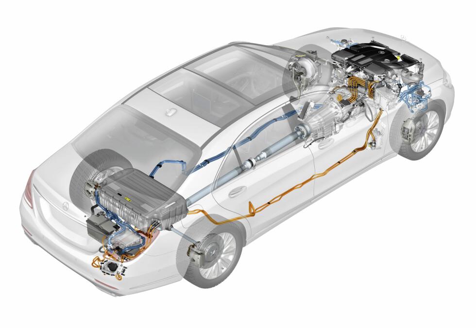 EKSTRA MOTOR: Slik ser hybriddrivlinjen ut i den ladbare luksusbilen. Foto: MERCEDES-BENZ