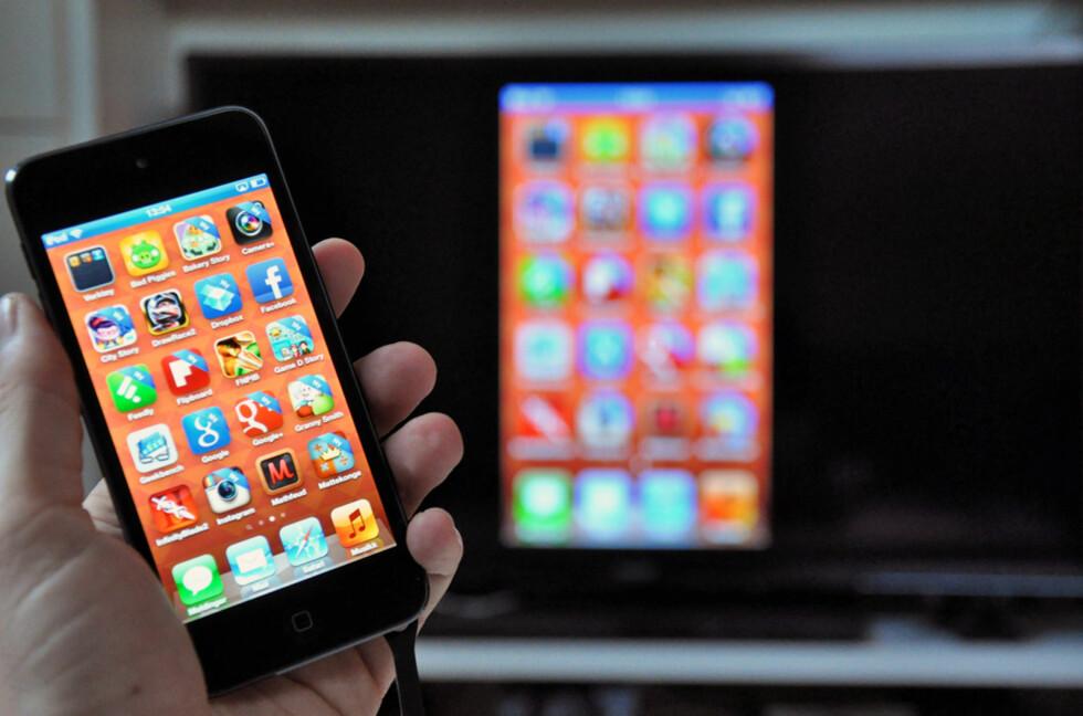 SEND TIL TV: Nå trenger du ikke lenger WiFi for å sende innhold fra iOS/OSX til Apple TV: Foto: PÅL JOAKIM OLSEN