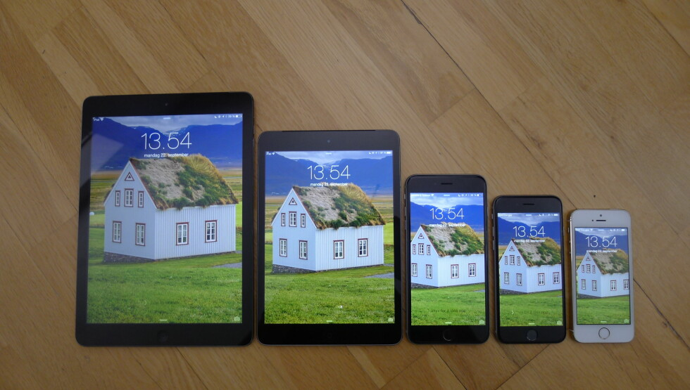 "<strong><b>FRA VENSTRE:</strong></b> iPad Air (9,7""), iPad mini Retina (7,9"", iPhone 6 Plus (5,5""), iPhone 6 (4,7"") og iPhone 5s (4""). Foto: TROND BIE"