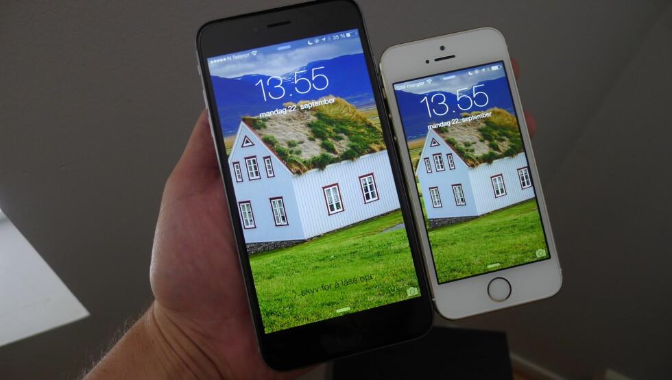 <strong><b>TING ENDRER SEG:</strong></b> De nye iPhone-modellene er tynnere, kjappere og har større skjermer og bedre batterier. Foto: TROND BIE