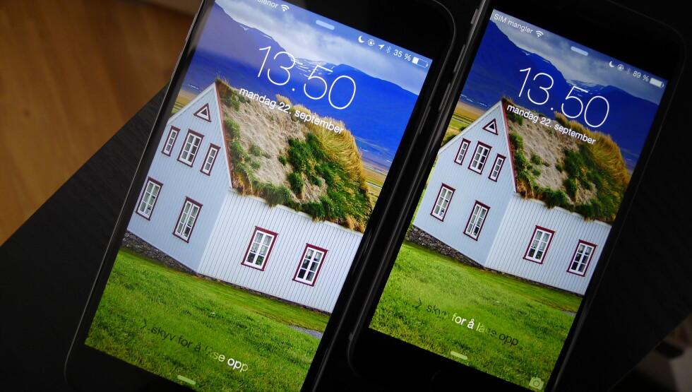 <strong><b>SKJERMENE</b>:</strong> Begge mobilene har flotte skjermer, men iPhone 6 Plus har høyest oppløsning av de to. Foto: TROND BIE