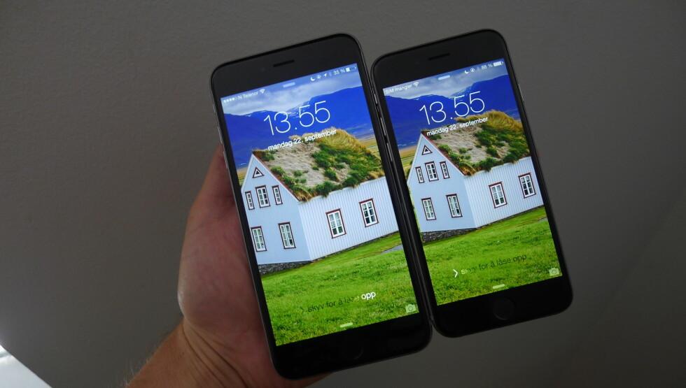 <strong><B>iPhone 6 Plus og iPhone 6:</strong></b> De kommer til Norge 26. september. Foto: TROND BIE
