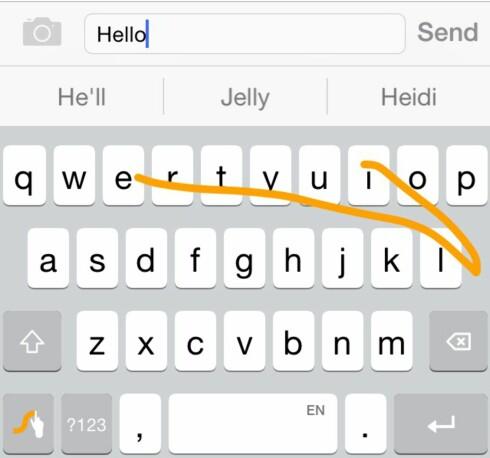 SWYPE: Når du bruker sveipemetoden for å skrive, vil du se en oransj strek som følger fingerbevegelsen din. Foto: KIRSTI ØSTVANG