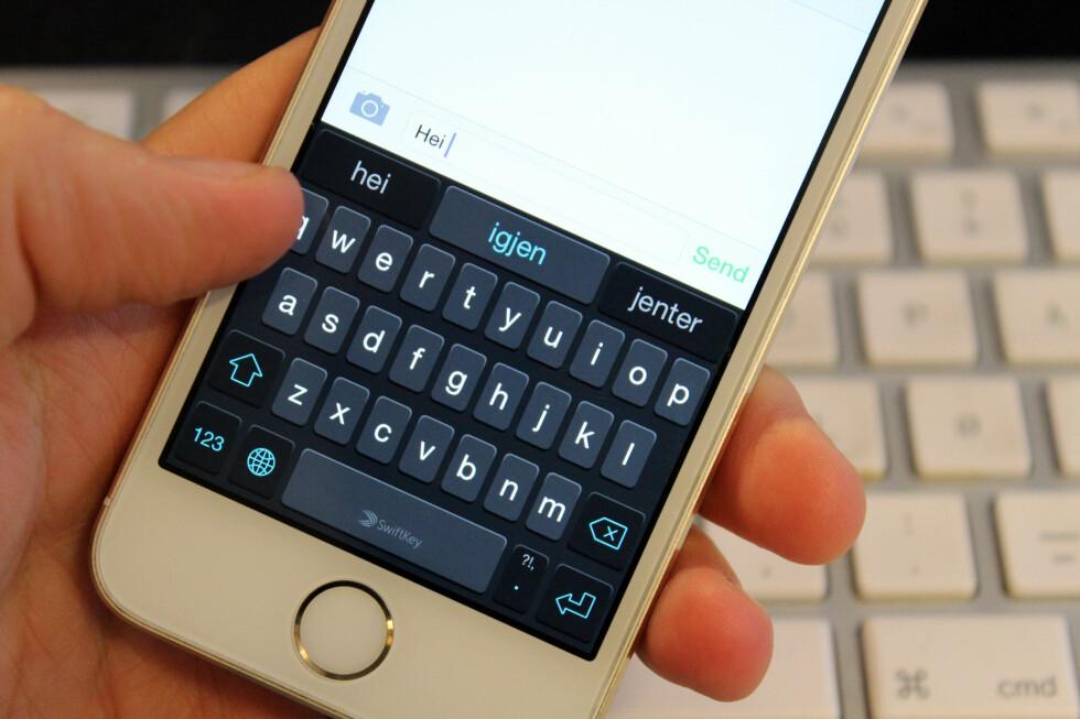 SKRIV RASKERE: Med et tredjepartstastatur som SwiftKey vil du kunne bli en mer effektiv taster på din iPhone eller IPad. Foto: KIRSTI ØSTVANG