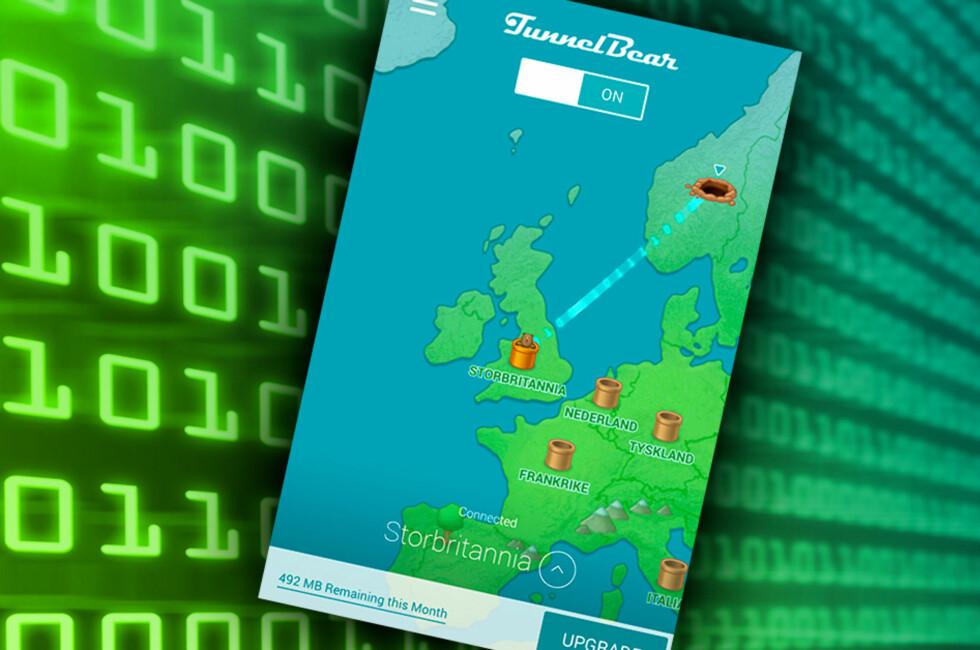 SURF FRA ET ANNET LAND: TunnelBear gir deg tilgang til nettjenester du ikke kan bruke fra Norge. Foto: PÅL JOAKIM OLSEN
