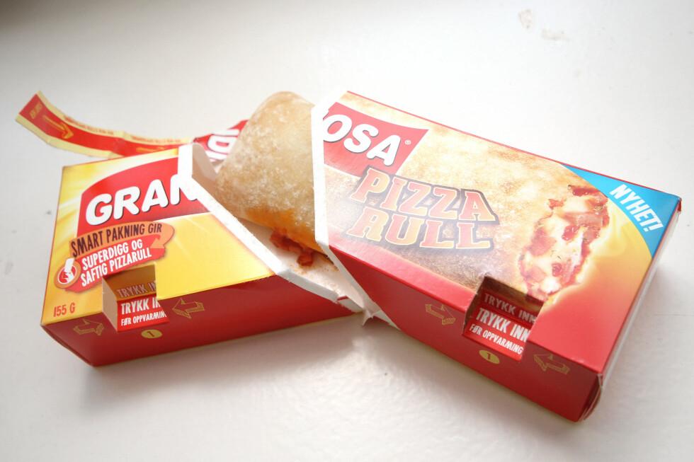 GRANDIS PÅ RULL: Den varmes i esken, og spises fra esken. Men vi kan ikke se så mye til den osten som er avbildet på pakken? Foto: OLE PETTER BAUGERØD STOKKE