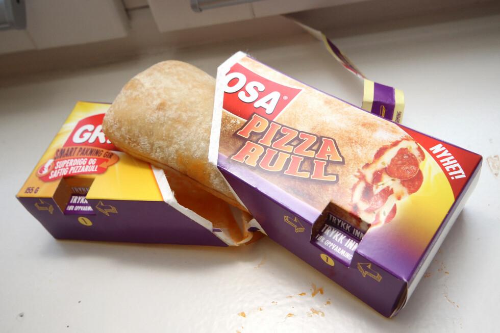 PIZZARULL MED PEPPERONI: Hvor er osten og pepperonien? Nei, da likte vi den med skinke bedre. Foto: OLE PETTER BAUGERØD STOKKE