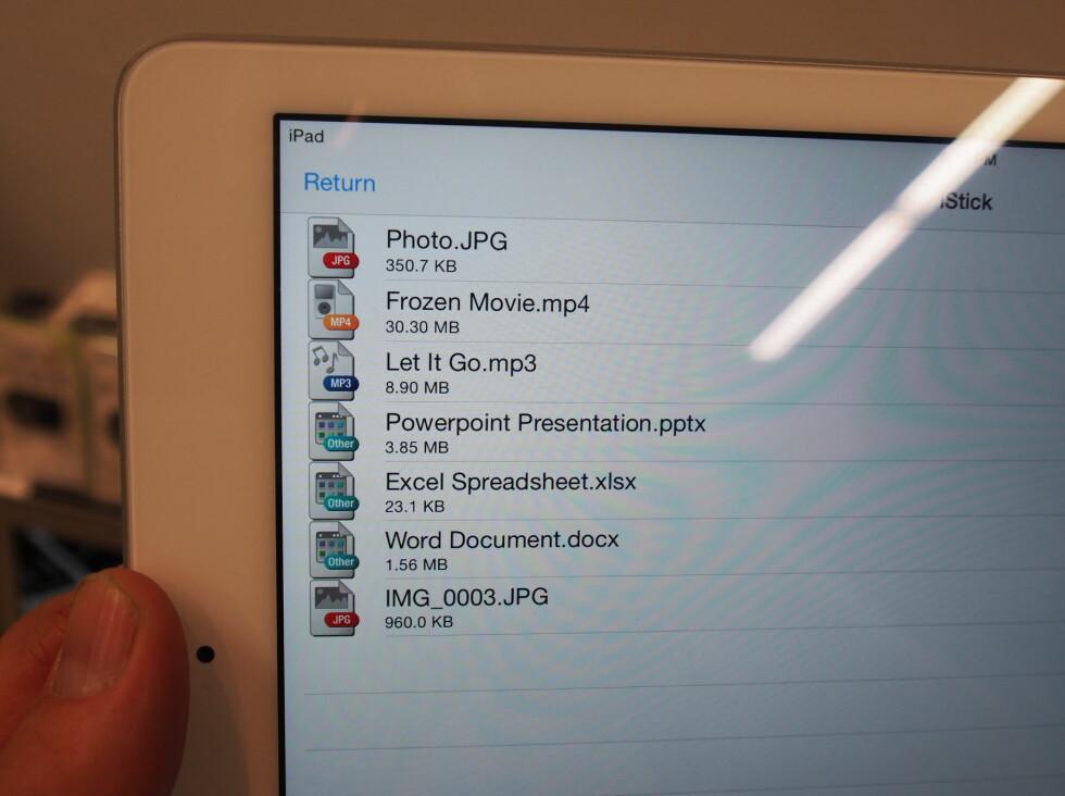 iStick: Oversikt over innholdet på minnepluggen. Foto: ØYVIND PAULSEN