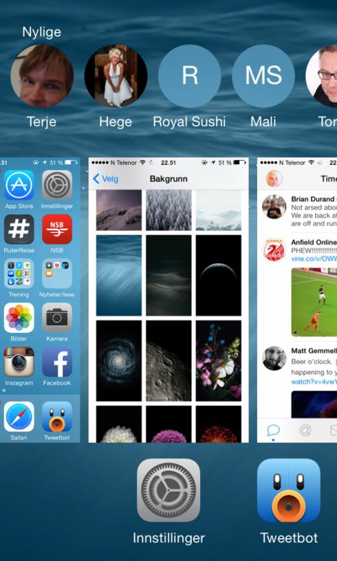 FLERE FUNKSJONER: I multitasking-menyen får du nå tilgang til mer enn bare nylig brukte apper. Foto: KIRSTI ØSTVANG