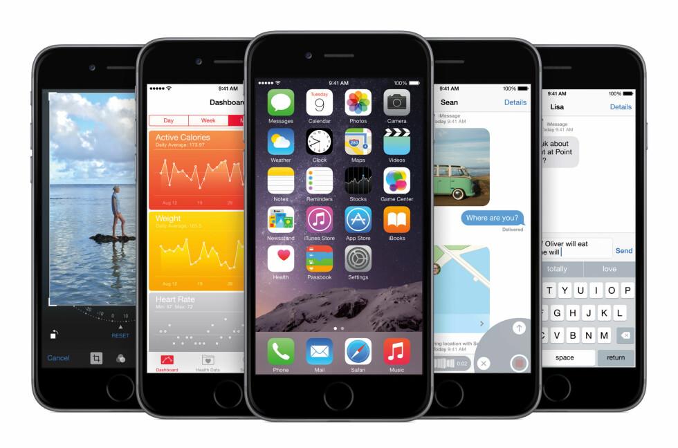 MYE SNACKS: iOS 8 kommer med mange kjekke nyheter, selv om vi må vente på det aller beste til senere i høst. Foto: APPLE