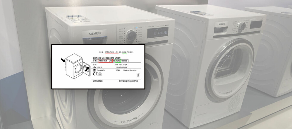 SLIK SJEKKER DU: Sjekk innsiden av døren eller på baksiden av maskinen. Her fra IFA-messen: Siemens' nye vaskemaskin og tørketrommel som ikke skal være berørt.  Foto: ELISABETH DALSEG / BSH