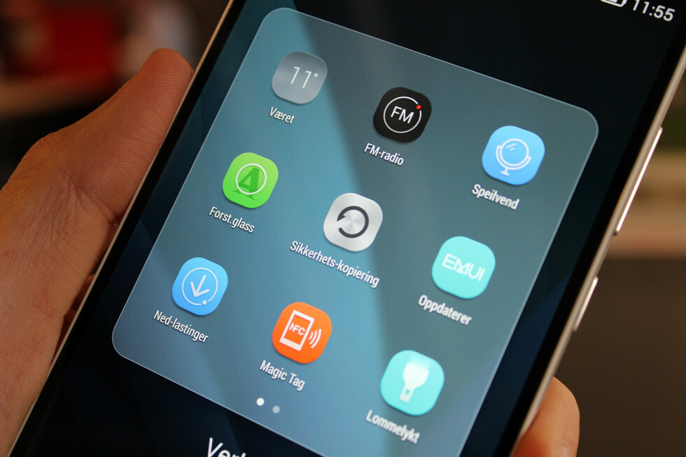 MASSE VERKTØY: Huawei har lagt ved en rekke ekstra apper. Vi likte godt forstørrelsesglasset - for når vi trenger å gå ekstra nært innpå ting.  Foto: KIRSTI ØSTVANG
