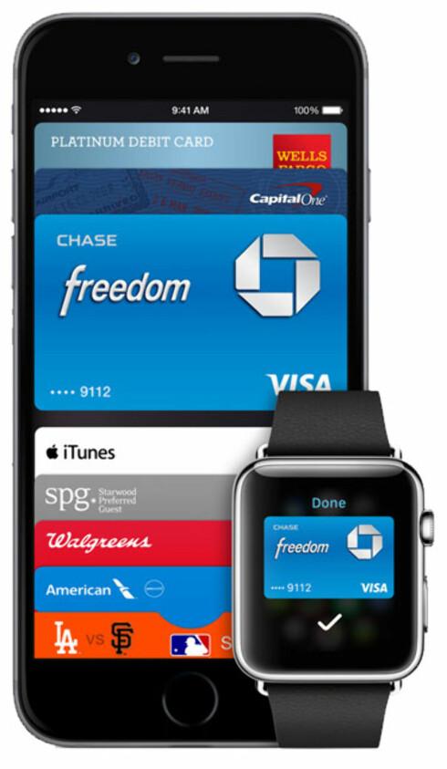 KLOKKEBETALING: Apple vil ikke at du bare skal betale med mobilen, men også deres nye Apple Watch. Foto: APPLE