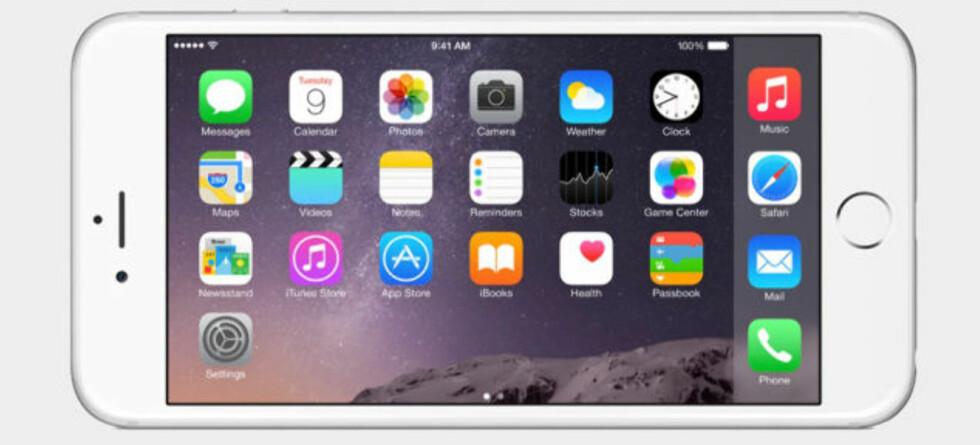 <strong><b>LIGGENDE:</strong></b> Med iPhone 6 og 6 Plus vil du endelig kunne ha hjemskjermen i landskapsmodus. Foto: APPLE