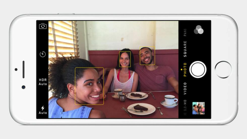 BEDRE ANSIKTSGJENKJENNING: Er også en av forbedringene til iPhone 6-kameraene. Foto: APPLE