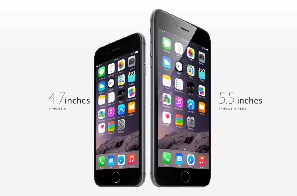 <strong><b>TO STØRRELSER:</strong></b> iPhone kommer nå i to forskjellige størrelser - begge er vesentlig større enn tidligere Apple-telefoner. Foto: APPLE