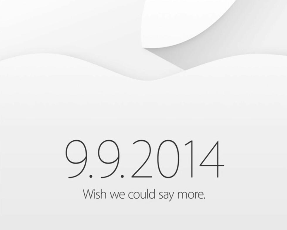 <strong><b>INVITASJONEN:</strong></b> Slik så Apple sedvanlige kryptiske invitasjon til kveldens lansering ut. De vil naturligvis ikke si noe på forhånd, men ryktebørsen er som vanlig aktiv. Foto: APPLE
