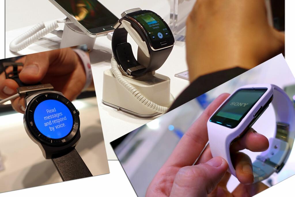 <b>DE NYESTE SMARTKLOKKENE:</b> På IFA-messen i Berlin i forrige uke fikk vi se flere nye smartklokker fra de store mobilprodusentene. Men kommer de til å slå an?  Foto: KIRSTI ØSTVANG