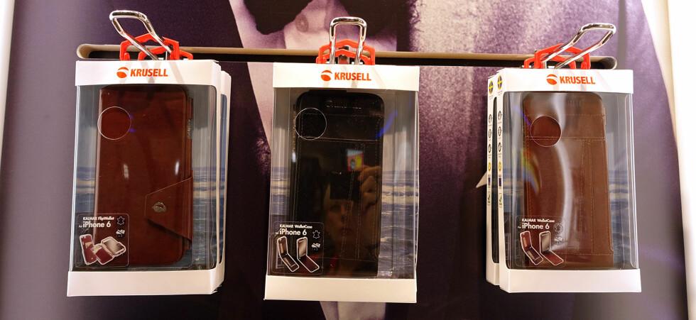FLERE DEKSLER: Krusell har laget en rekke ulike type deksler til Apples kommende telefon. Foto: KIRSTI ØSTVANG