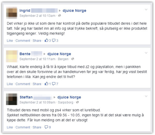 KLAGER: På rekke og rad nedover Djuice sine Facebook-sider forteller kundene om sine erfaringer med salget. De fleste fikk ikke kjøpt. Foto: OLE PETTER BAUGERØD STOKKE