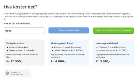 REGN UT: En kalkulator på nettsiden beregner raskt hvor mye det eventuelt vil koste deg å frigi depositumet. Foto: HUSLEIE.NO