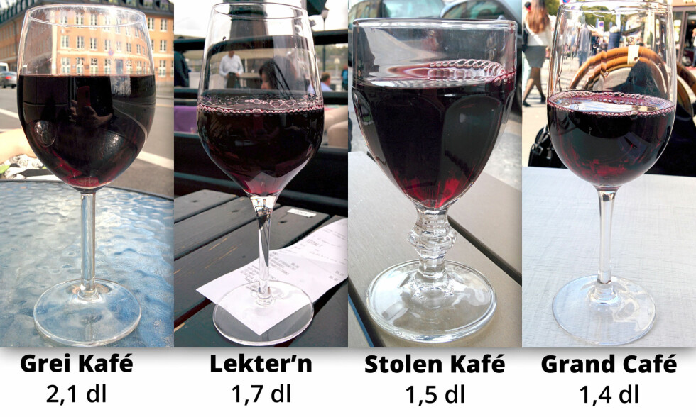 ULIKE GLASS: Mengde vin fra minst til mest. Hadde du sett forskjellen med det blotte øye? Foto: OLE PETTER BAUGERØD STOKKE