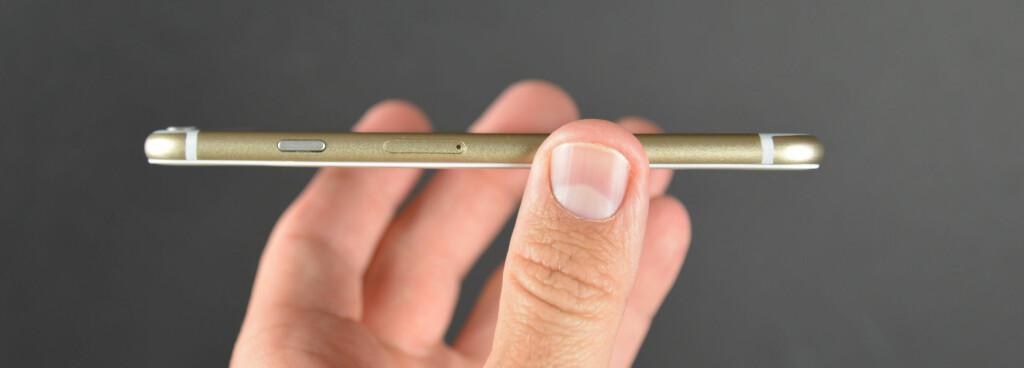TYNNEST HITTIL: Angivelig kommer iPhone 6 til å bli den tynneste til nå, bare 7 millimeter tykk, ned fra 7,6 millimeter hos iPhone 5S. Foto: SONNY DICKINSON