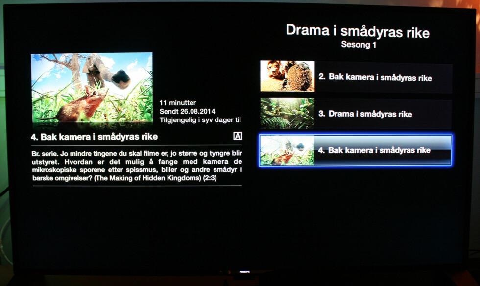 Slik ser det ut når du trykker deg inn på en serie i NRKs app. Som, du kan se, er den valgte episoden bare tilgjengelig i syv dager til. Foto: KIRSTI ØSTVANG