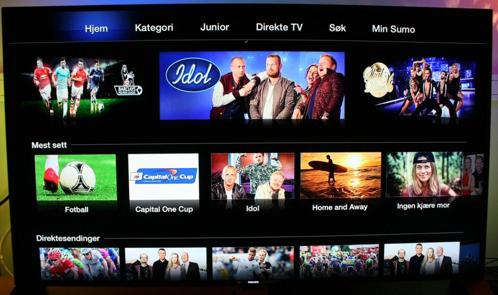 Her er hovedsiden på TV 2 Sumo-appen. Foto: KIRSTI ØSTVANG