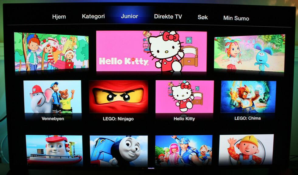 TV 2 Sumo har en egen side for junior, hvor barna raskere kan finne sine favoritter. Foto: KIRSTI ØSTVANG
