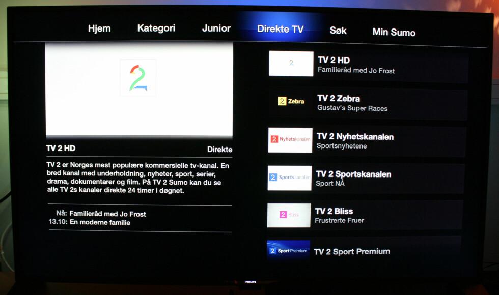 Så kan du som nevnt også se direktesendinger fra alle TV 2s kanaler. Foto: KIRSTI ØSTVANG