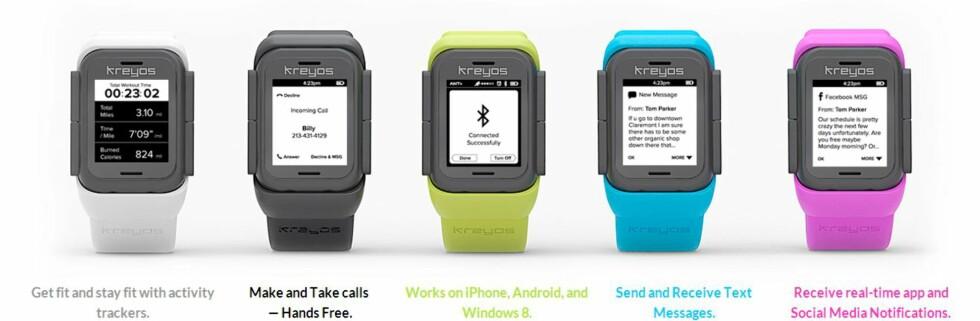 LOVER MYE: Kreyos lover blant annet at den skal fungere sammen med Windows-telefoner. Det gjør den ikke.  Foto: KREYOS