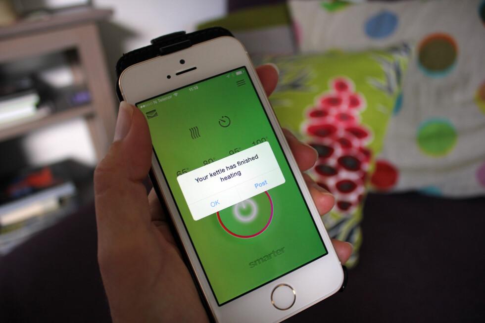 VANNET ER KLART: Dersom du setter på vannet fra mobilen, får du også melding på mobilen når vannet er klart. Foto: KRISTIN SØRDAL