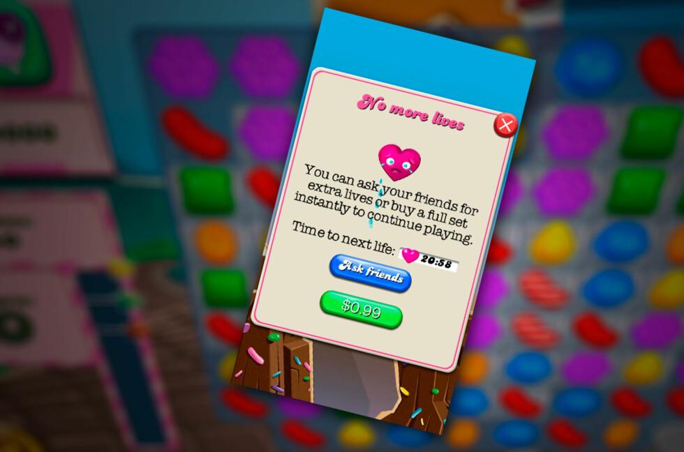 TORTUR? Å vente 20 minutter på et nytt Candy Crush-liv kan være en prøvelse. Foto: PÅL JOAKIM OLSEN