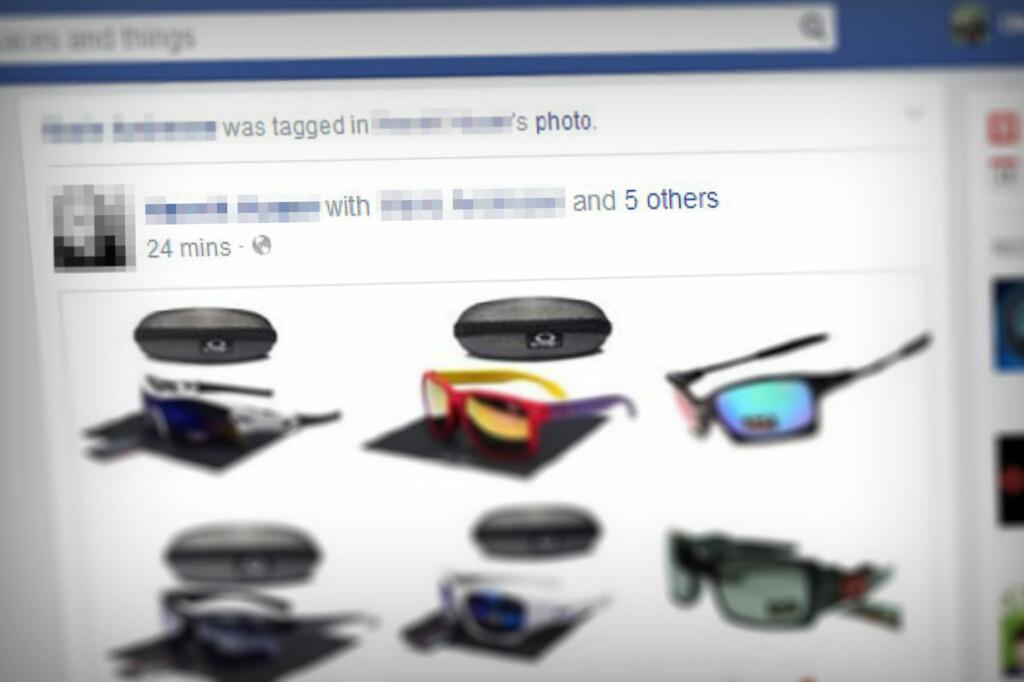 <B>SVINDEL: </B>Denne annonsen havnet i vår nyhetsstrøm nylig. En Facebook-venn var tagget i solbrillereklamen, noe hun selvfølgelig ikke hadde noen interesse av. Foto: OLE PETTER BAUGERØD STOKKE