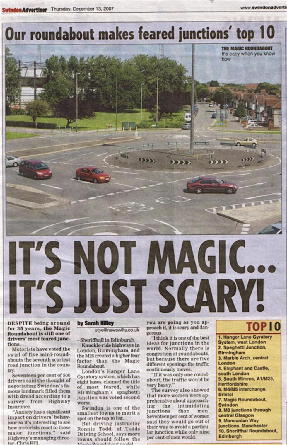TOPP TI: De to rundkjøringene har ved flere anledninger blitt kåret til noen av de verste rundkjøringene i England, om ikke i verden. Her en faksimile fra en britisk avis som omtalte disse i 2007. Foto: FLICKR IAN LLOYD