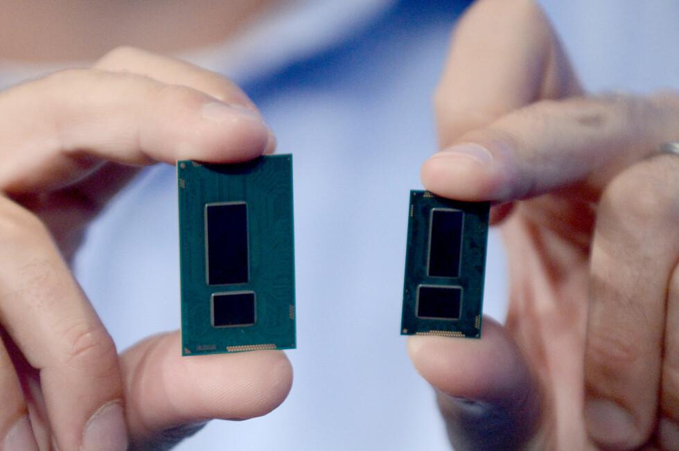 SÅ MYE MINDRE: Intels kommende Broadwell-brikke er mindre, men bedre enn forgjengeren. Foto: INTEL