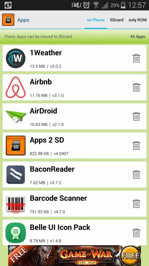 ENKELT: Med Apps 2 SD-appen kan man raskt flytte over de appene som har støtte for muligheten.
