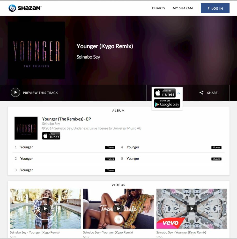 MER INFORMASJON: På Shazams nettsider finnes mer informasjon om sanger, som lenker til musikkvideoer, sangtekst og lenker til å kjøpe sangen.